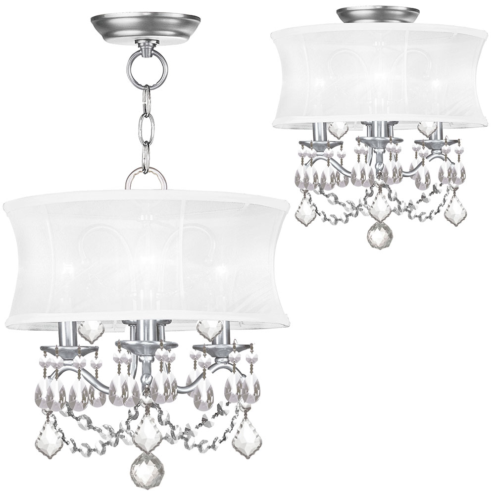 Livex 6303 91 Newcastle Brushed Nickel Drum Hanging Light Flush Lighting