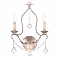 Livex 6422-73 Chesterfield Hand Painted Antique Silver Leaf Wall Light Fixture