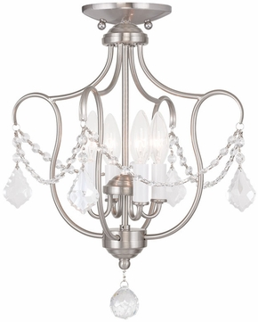 Livex 6434-91 Chesterfield Brushed Nickel Mini Lighting Chandelier / Overhead Lighting