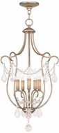 Livex 6436-73 Chesterfield Hand Painted Antique Silver Leaf Foyer Light Fixture