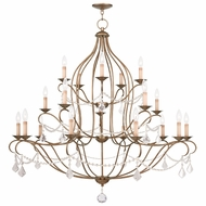 Livex 6439-48 Chesterfield Antique Gold Leaf Hanging Chandelier