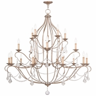 Livex 6439-73 Chesterfield Hand Painted Antique Silver Leaf Chandelier Lighting