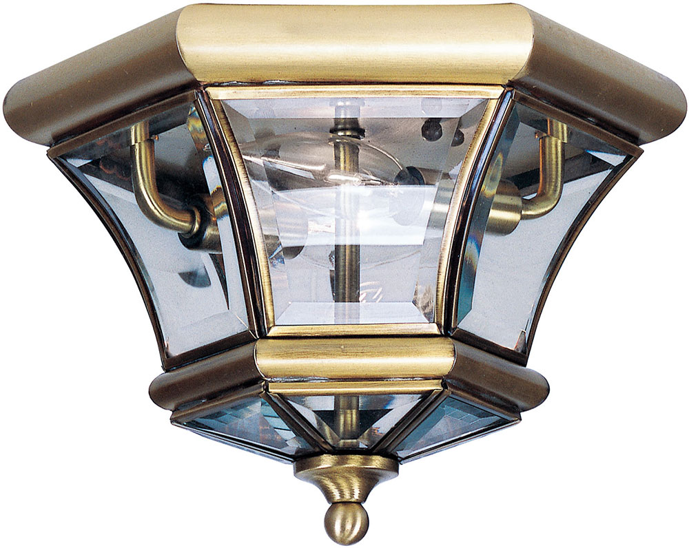 Livex 7052 01 Monterey Georgetown Antique Brass Outdoor Flush Mount Ceiling Light Fixture Lvx 7052 01