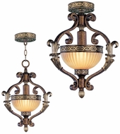 Livex 8530-64 Seville Traditional Palacial Bronze with Gilded Accents Hanging Pendant Light / Flush Mount Lighting Fixture