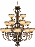 Livex 8539-64 Seville Traditional Palacial Bronze with Gilded Accents ADA Hanging Chandelier