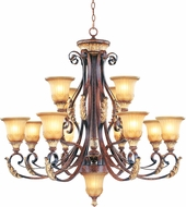 Livex 8559-63 Villa Verona Traditional Verona Bronze with Aged Gold Leaf Accent Chandelier Light