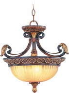 Livex 8565-63 Villa Verona Traditional Verona Bronze with Aged Gold Leaf Accent Hanging Lamp