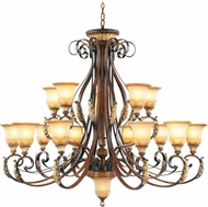 Livex 8568-63 Villa Verona Traditional Verona Bronze with Aged Gold Leaf Accent Ceiling Chandelier