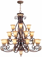 Livex 8569-63 Villa Verona Traditional Verona Bronze with Aged Gold Leaf Accent Hanging Chandelier