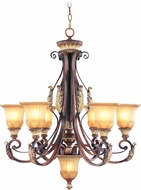 Livex 8576-63 Villa Verona Traditional Verona Bronze with Aged Gold Leaf Accent Lighting Chandelier