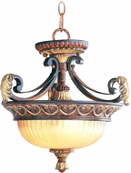 Livex 8577-63 Villa Verona Traditional Verona Bronze with Aged Gold Leaf Accent Hanging Light