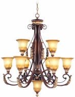Livex 8579-63 Villa Verona Traditional Verona Bronze with Aged Gold Leaf Accent Chandelier Lamp
