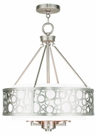 Livex 86795-91 Avalon Brushed Nickel 18  Drum Pendant Light Fixture