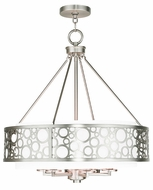 Livex 86796-91 Avalon Brushed Nickel 22  Drum Pendant Lighting Fixture