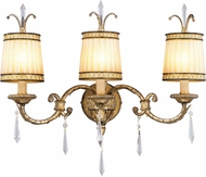 Livex 8813-65 La Bella Hand Painted Vintage Gold Leaf 3-Light Vanity Lighting Fixture