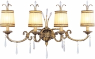 Livex 8814-65 La Bella Hand Painted Vintage Gold Leaf 4-Light Bathroom Vanity Light Fixture
