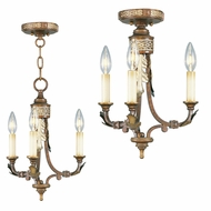 Livex 8836-64 Bristol Manor Traditional Palacial Bronze with Gilded Accents Mini Hanging Chandelier / Flush Mount Ceiling Light Fixture