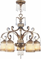 Livex 8885-65 La Bella Traditional Hand Painted Vintage Gold Leaf Chandelier Light
