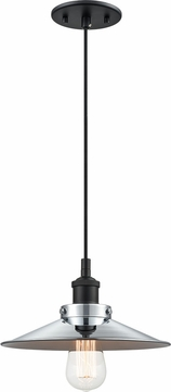 Matteo C46111BKCH Bulstrode's Workshop Contemporary Black / Chrome 10.25  Mini Hanging Pendant Lighting