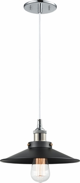 Matteo C46111CHBK Bulstrode's Workshop Modern Chrome / Black 10.25  Mini Hanging Pendant Light