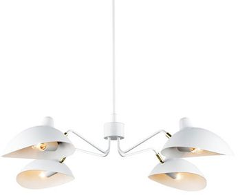 Matteo C57904WH Droid Contemporary White and Brushed Gold Lighting Chandelier