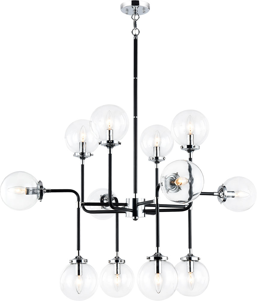 Matteo c58212chcl particles contemporary black chrome chandelier lighting