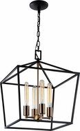 Matteo C61704RB Scatola Contemporary Rusty Black + Aged Gold Brass 16  Foyer Light Fixture