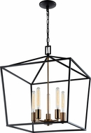 Matteo C61705RB Scatola Modern Rusty Black + Aged Gold Brass 20  Foyer Lighting Fixture