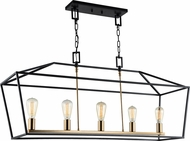 Matteo C61715RB Scatola Contemporary Rusty Black + Aged Gold Brass Kitchen Island Light