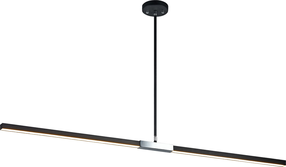 Matteo C64749mbch Lineare Contemporary Matte Black Amp Chrome Led Kitchen Island Lighting Mto