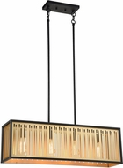 Matteo C67714MB Goldenguild Contemporary Matte Black and Brushed Gold Kitchen Island Light
