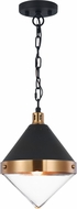 Matteo C72201AGCL Sphericon Modern Matte Black & Aged Gold Brass Mini Pendant Light Fixture