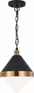 Matteo C72201AGOP Sphericon Contemporary Matte Black & Aged Gold Brass Mini Pendant Lighting Fixture