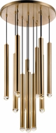Matteo C78312AG Reign Modern Aged Gold Brass LED Multi Hanging Light