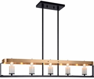 Matteo C82915BKAG Crandle Modern Black and Aged Gold Brass Island Lighting