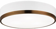 Matteo M14303WHAG Trydor Contemporary White and Aged Gold Brass 16 Ceiling Light Fixture