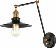 Matteo S01211AGBK Brixson Aged Gold Brass and Black Wall Swing Arm Lamp