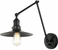 Matteo S01211BKBK Brixson Black Swing Arm Wall Lamp