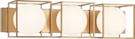 Matteo S03803AG Squircle Contemporary Aged Gold Brass 3-Light Bath Lighting