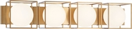 Matteo S03804AG Squircle Contemporary Aged Gold Brass 4-Light Bathroom Lighting Fixture