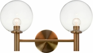 Matteo S06002AGCL Cosmo Aged Gold Brass 2-Light Vanity Light Fixture