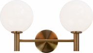 Matteo S06002AGOP Cosmo Aged Gold Brass 2-Light Vanity Lighting Fixture