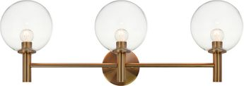 Matteo S06003AGCL Cosmo Aged Gold Brass 3-Light Bath Wall Sconce