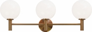 Matteo S06003AGOP Cosmo Aged Gold Brass 3-Light Bathroom Light Sconce