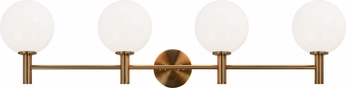 Matteo S06004AGOP Cosmo Aged Gold Brass 4-Light Bathroom Wall Light Fixture