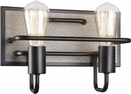 Matteo S06202WD Napa Rustic Wood Grain 2-Light Bath Lighting Fixture