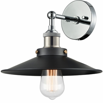Matteo W46111CHBK Bulstrode's Workshop Contemporary Chrome / Black Lighting Wall Sconce