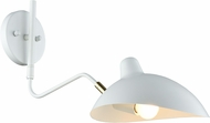 Matteo W57901WH Droid Contemporary White & Brushed Gold Swing Arm Wall Lamp