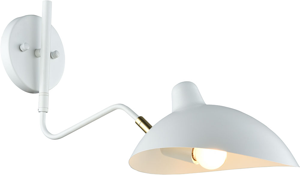 Matteo W57901wh Droid Contemporary White Brushed Gold Swing Arm Wall Lamp Loading Zoom