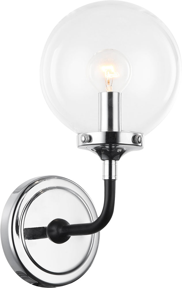 Matteo W58201chcl Particles Contemporary Black Chrome Wall Sconce